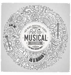 Set of musical cartoon doodle objects symbols and vector