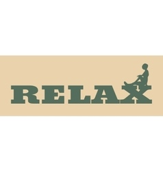Woman silhouette on relax text vector