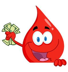 Blood guy waving cash over a blank sign vector