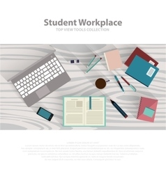 Flat design student workspace on wooden table vector