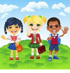Smiling schoolchildren of different nationalities vector