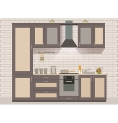 Kitchen interior card flat vector
