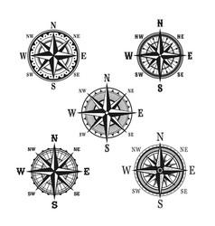Icons of marine nautical navigation compass vector