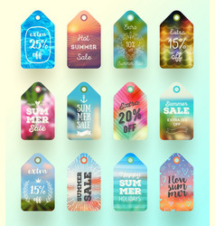 Set of summer sale tags or labels vector