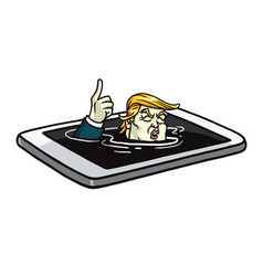 Donald trump drowning in mobile phone cartoon vector