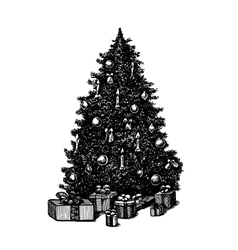 Hand drawn ink pen christmas tree vector
