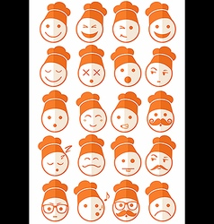 Icons set 20 chef orange half vector