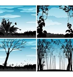 Silhouette scene of nature vector image