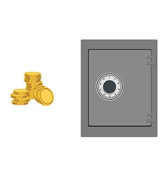 Bank safe with coins vector