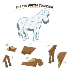 Puzzle game for children horse vector