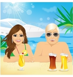 Young happy couple enjoying beach holiday vector