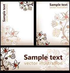 Autumn floral background set vector