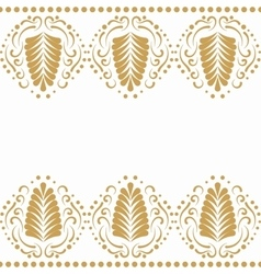 Golden elegant border in damask retro style vector