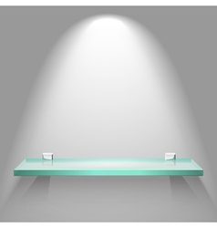 Color empty glass shelf on the wall vector
