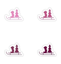 Set of paper stickers on white background Bear vector image