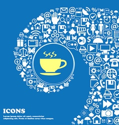 The tea and cup icon nice set of beautiful icons vector