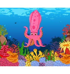 Funny calamari squid with beauty sea life backgrou vector