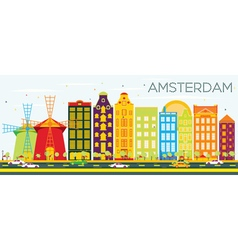 Abstract Amsterdam Skyline with Color Buildings vector image vector image