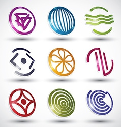 Abstract icons of different shapes set vector image
