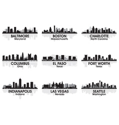 american cities skyline set 2 vector image vector image