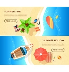 Beach Vacation Top View 2 Banners vector image vector image