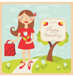 birthday card with girl vector image vector image