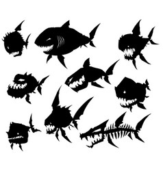 Black graphic silhouette cool monster fish set vector