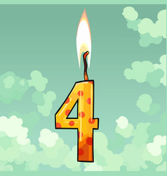 Burning candle number four on sky background vector