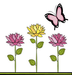 butterflies and flowers 20 vector image vector image