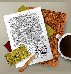 Cartoon hand-drawn doodles italian food corporate vector