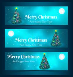 christmas tree banners set vector image vector image