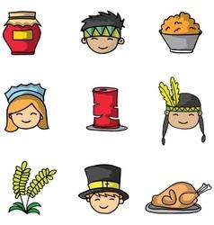 Doodle of thanksgiving cartoon element vector