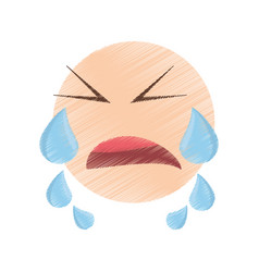 Drawing crying emoticon image vector