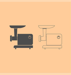 electric meat mincer dark grey set icon vector image