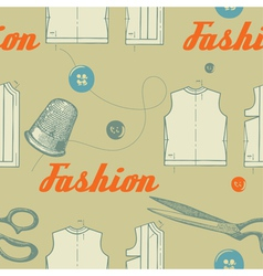 fashion background with scissors and buttons vector image vector image