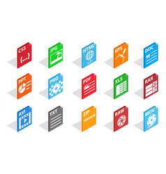 files type icon set isometric style vector image