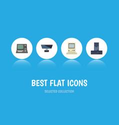 Flat icon laptop set of technology pc processor vector