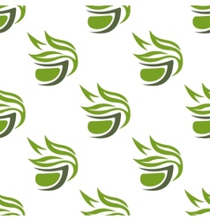 Green or herbal tea cups seamless pattern vector image