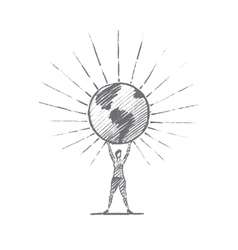 Hand drawn woman holding shining globe on hands vector image vector image