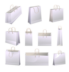 Paper shopping bags with handles collections on vector