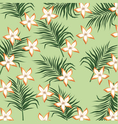 Plumeria flower tropical leaves seamless pattern vector