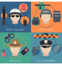 Police flat set vector image vector image