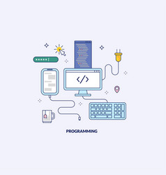 programming and development made in line style vector image vector image