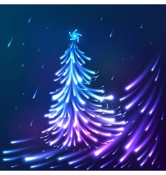 shining lights blue neon christmas tree vector image