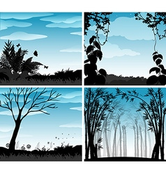 Silhouette scene of nature vector