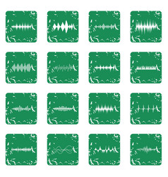 Sound wave icons set grunge vector