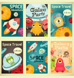 Space posters set vector