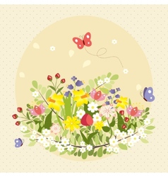 Spring Butterflies Flowers Art Colorful Vintage vector image