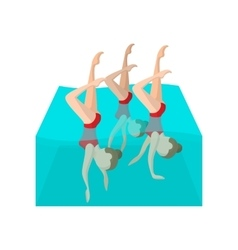 Synchronized swimmers cartoon icon vector