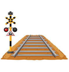 Train track and light signal pole vector